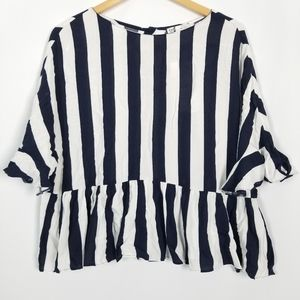 Zara TRF Collection Blouse Blue and White Large